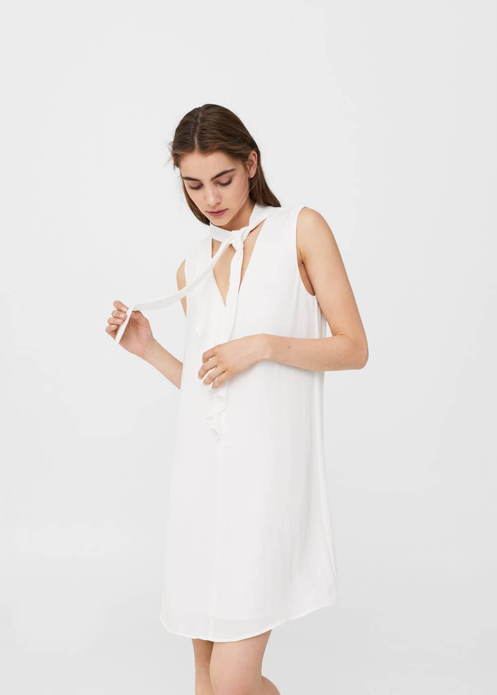 Bow neck dress | MANGO
