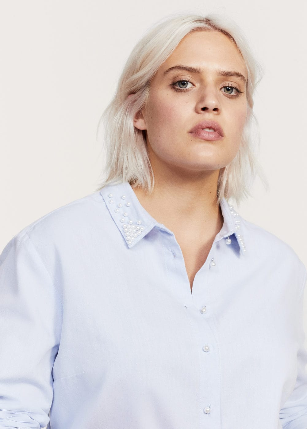 Pearl button shirt | VIOLETA BY MNG