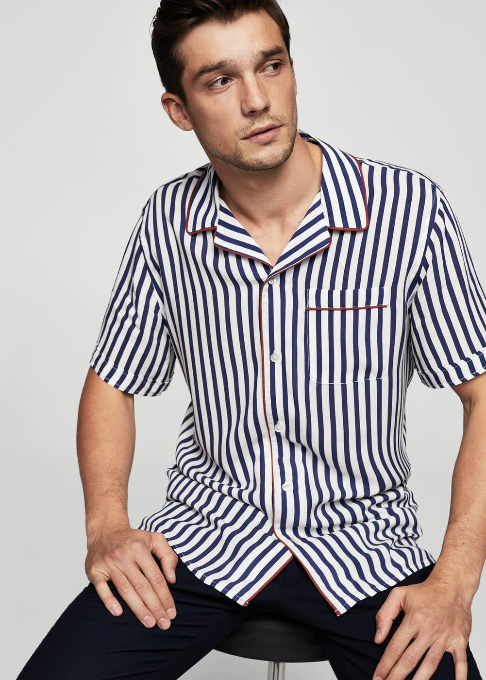 Regular-fit striped shirt | MANGO MAN