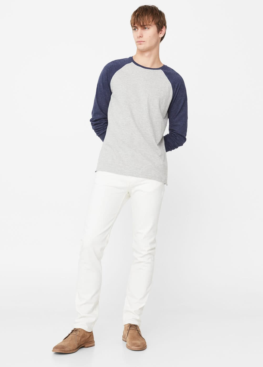 Slim-fit white jan jeans | MANGO MAN
