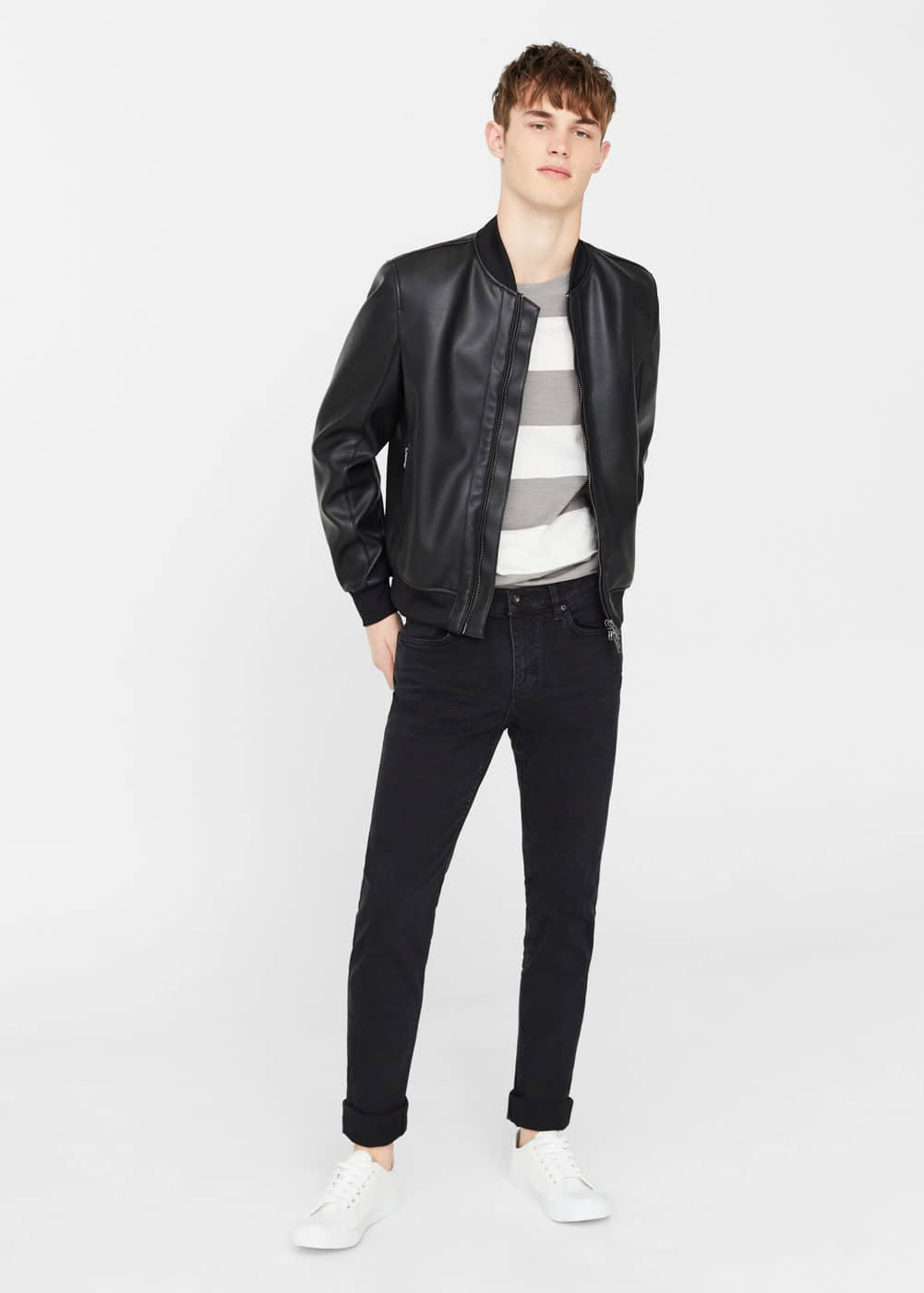 Slim-fit black tim jeans | MANGO MAN