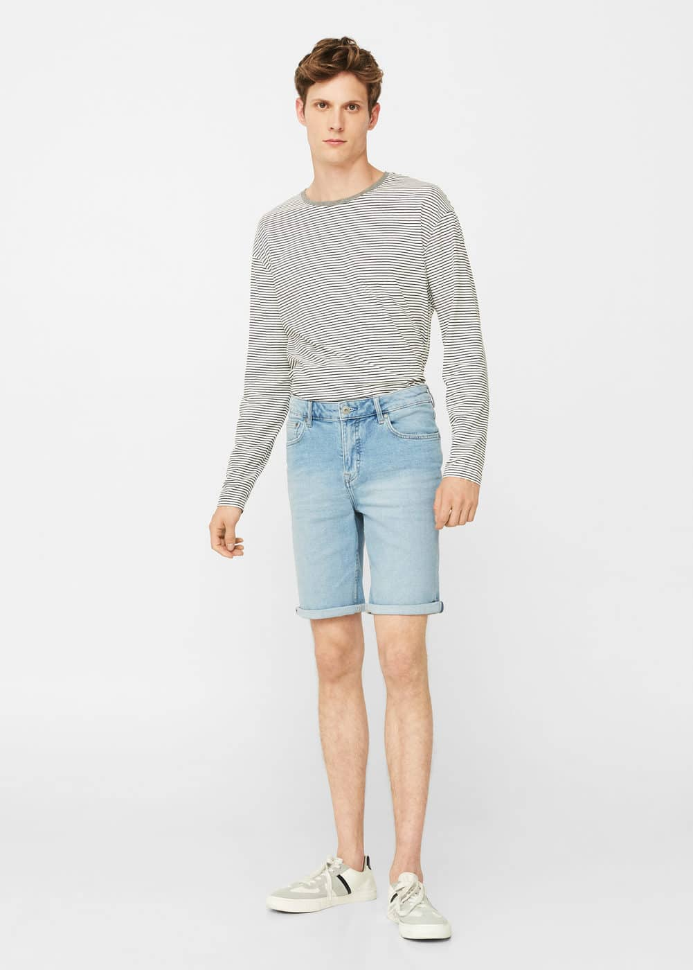 Light denim bermuda shorts | MANGO MAN