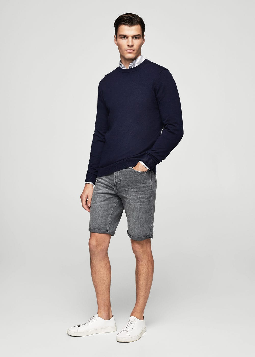 Grey denim bermuda shorts | MANGO MAN