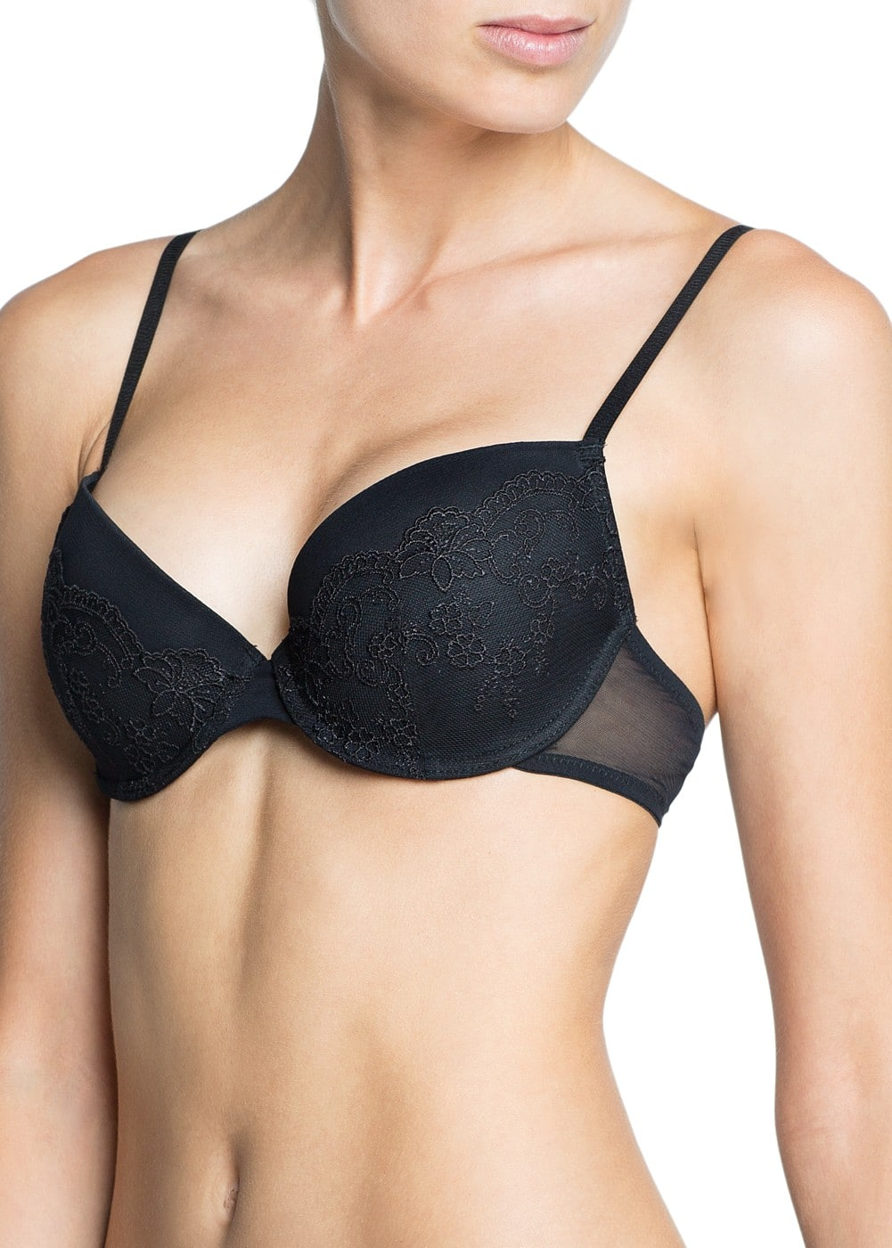 Lace and mesh foam bra | MANGO