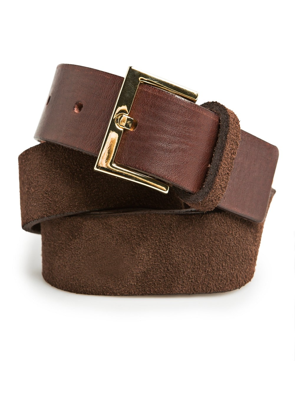 Metal plates leather belt | MANGO