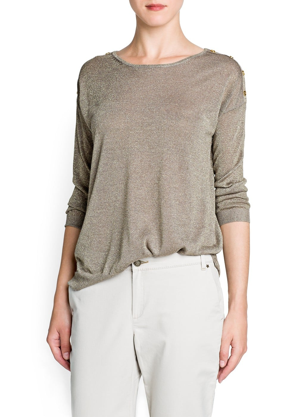 Metallic loose-fit sweater | MANGO