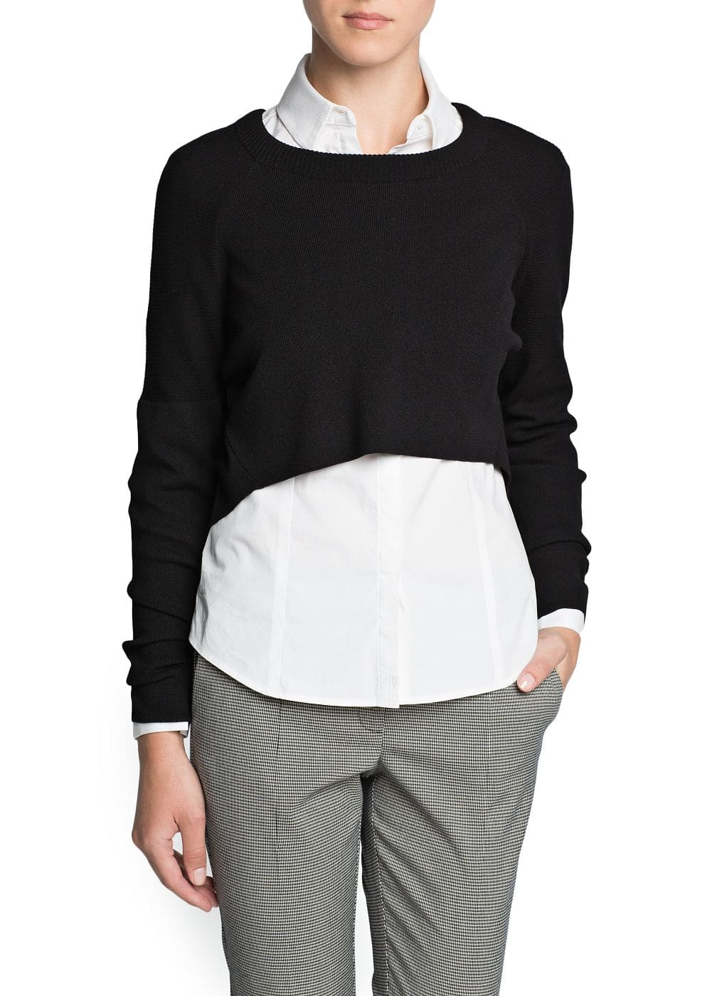 Ribbed shoulder cropped sweater | MANGO