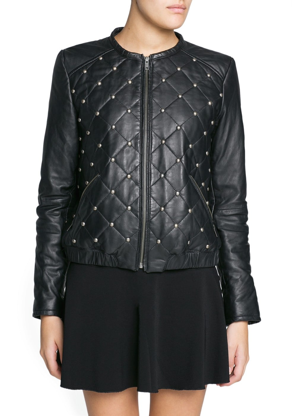 Studded leather bomber jacket | MANGO