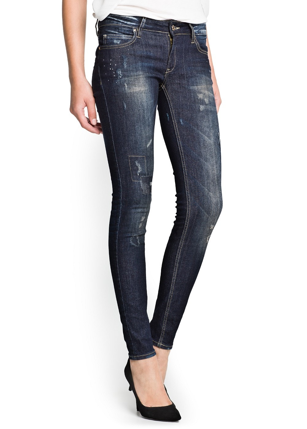 Super slim-fit vintage wash jeans | MANGO