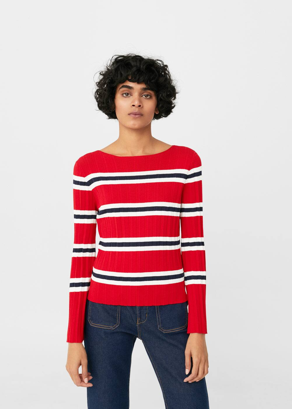 Striped embossed sweater | MANGO