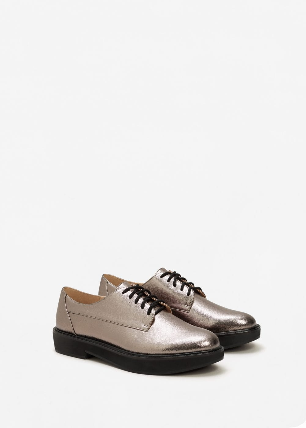 Metallic blucher shoes | MANGO