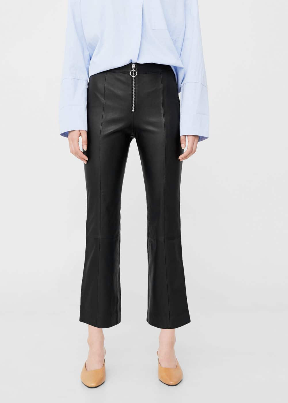 Leather crop trousers | MANGO
