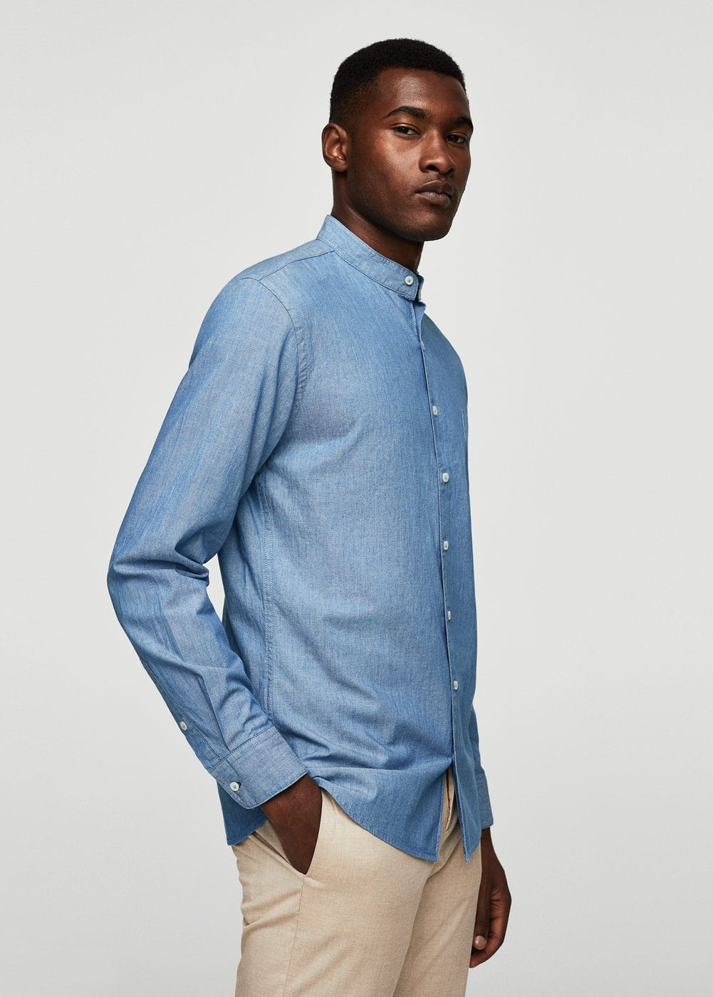 Slim-fit light denim shirt | MANGO MAN