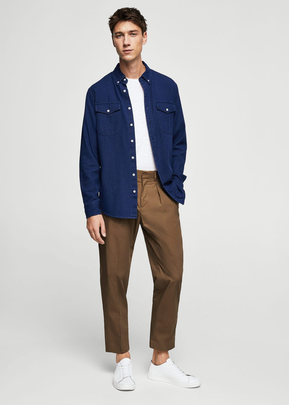 Slim fit hemd, baumwoll-chambray | MANGO
