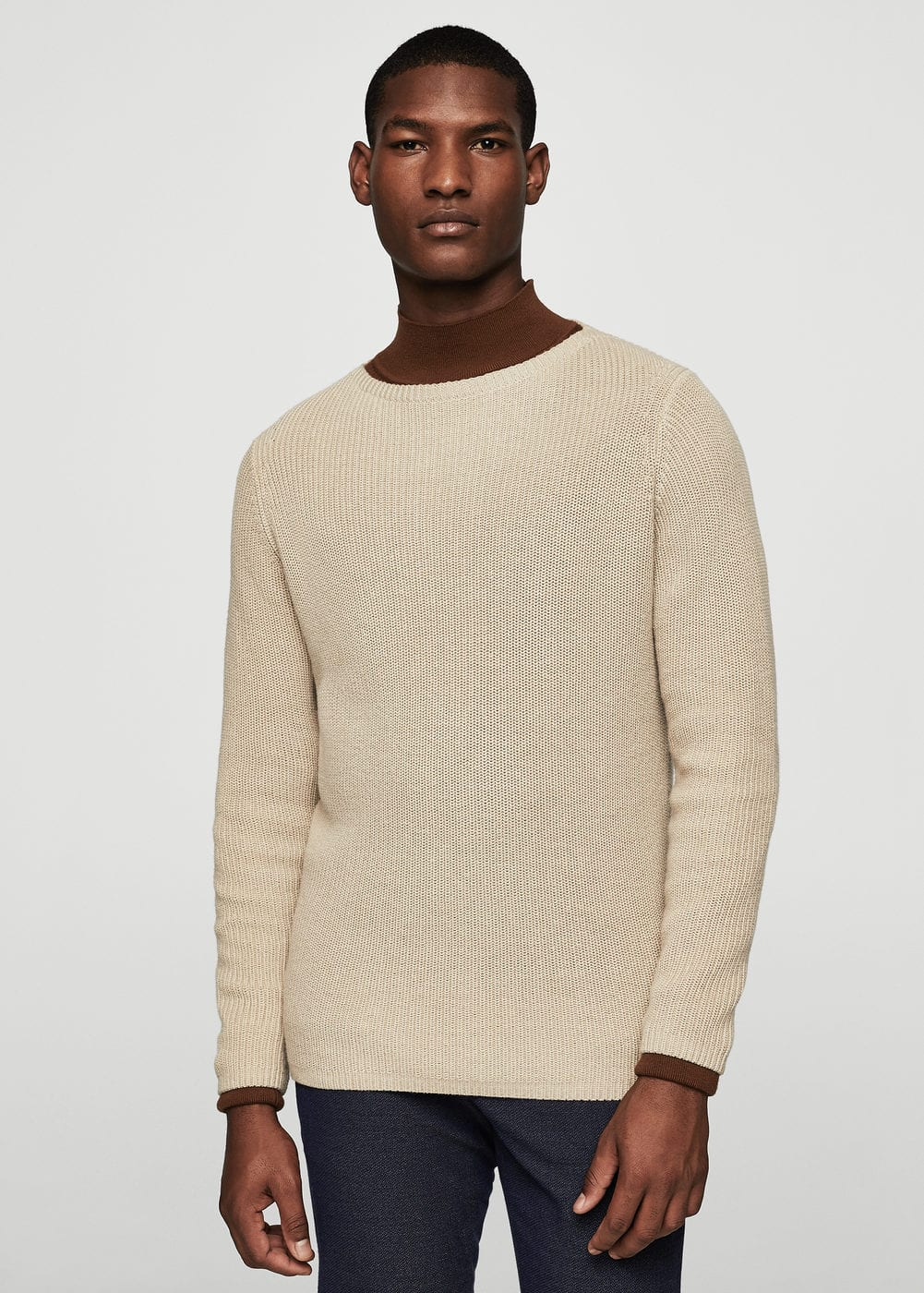 Knitted braided cotton linen sweater | MANGO MAN