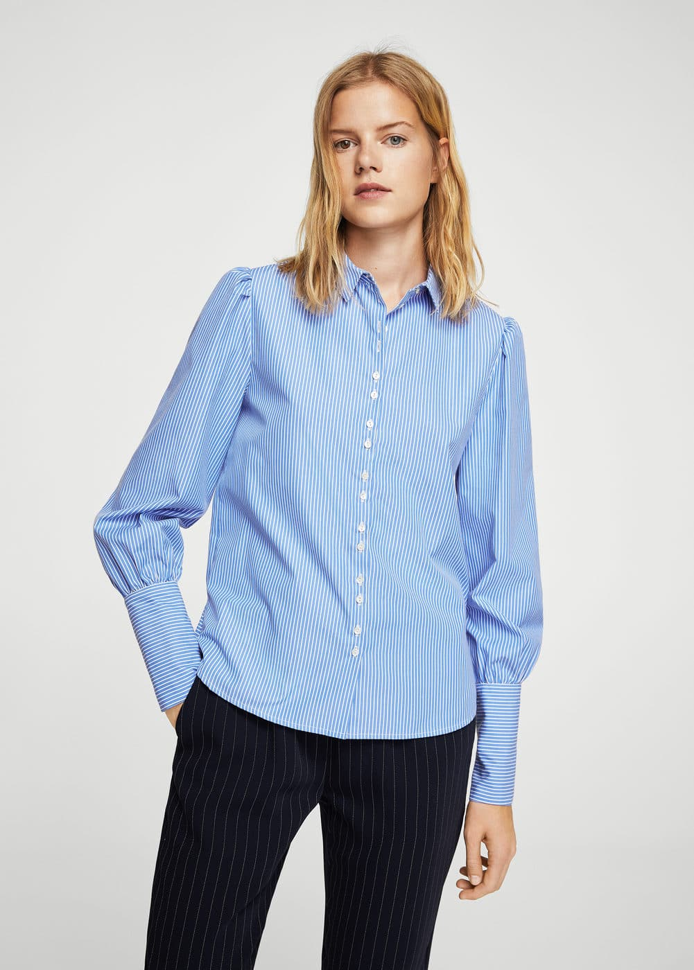 Puffed sleeves striped shirt | MANGO