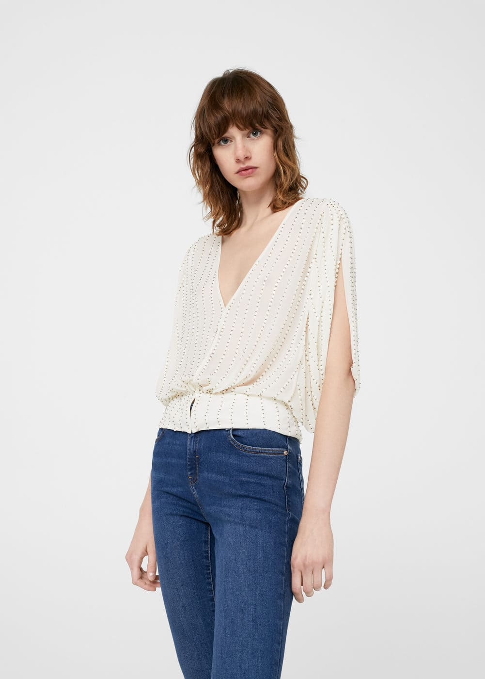 Metallic thread blouse | MANGO