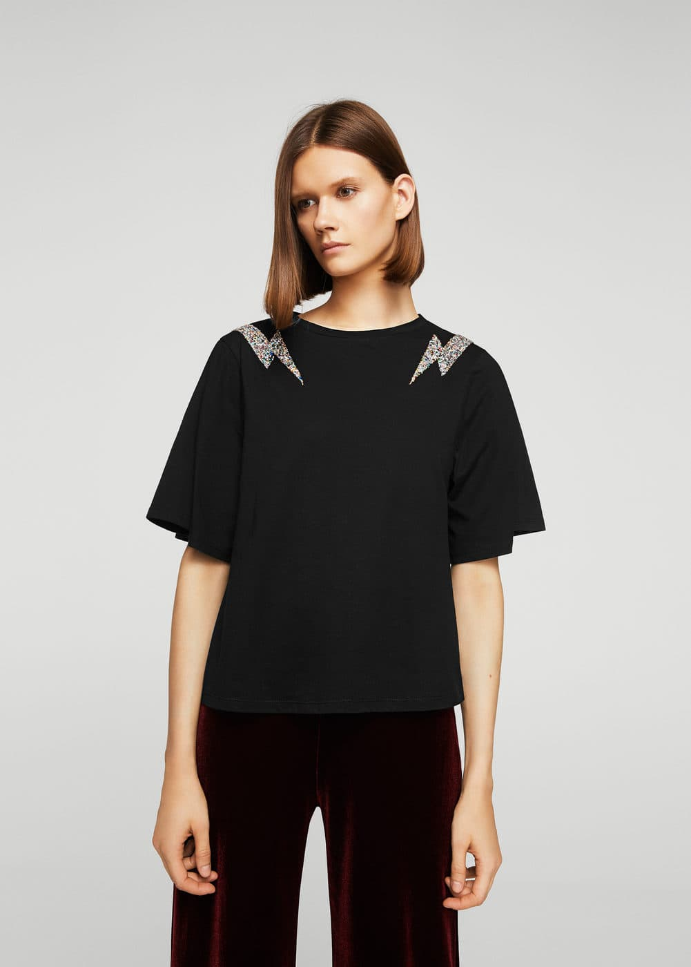 Crystal appliqué t-shirt | MANGO