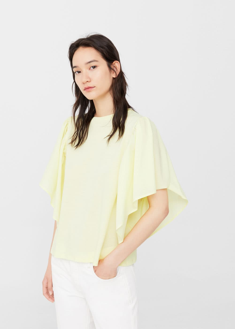Ruffled cotton shirt | MANGO