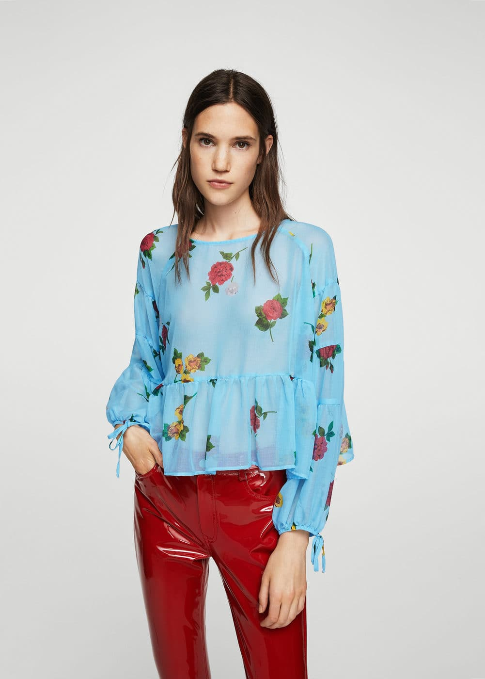 Puffed sleeves floral shirt | MANGO