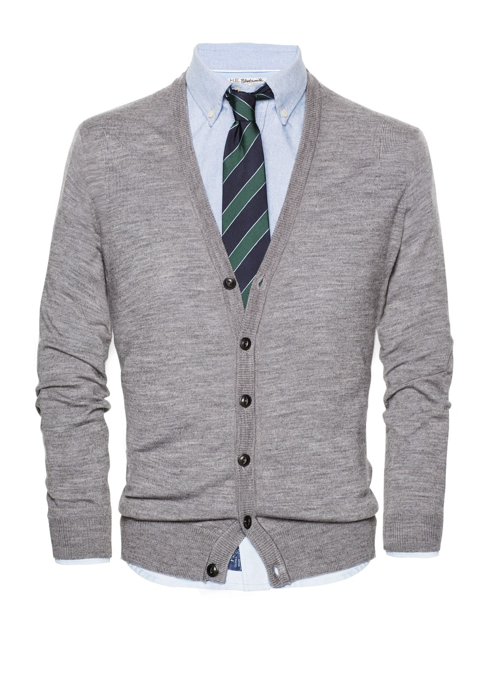 Elbow patch wool cardigan | MANGO MAN