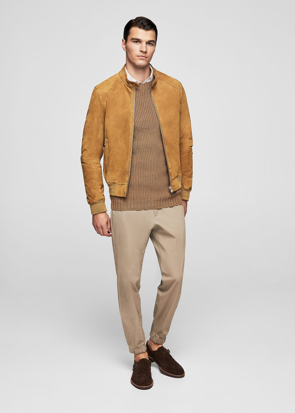 Zip-pocket suede jacket | MANGO MAN
