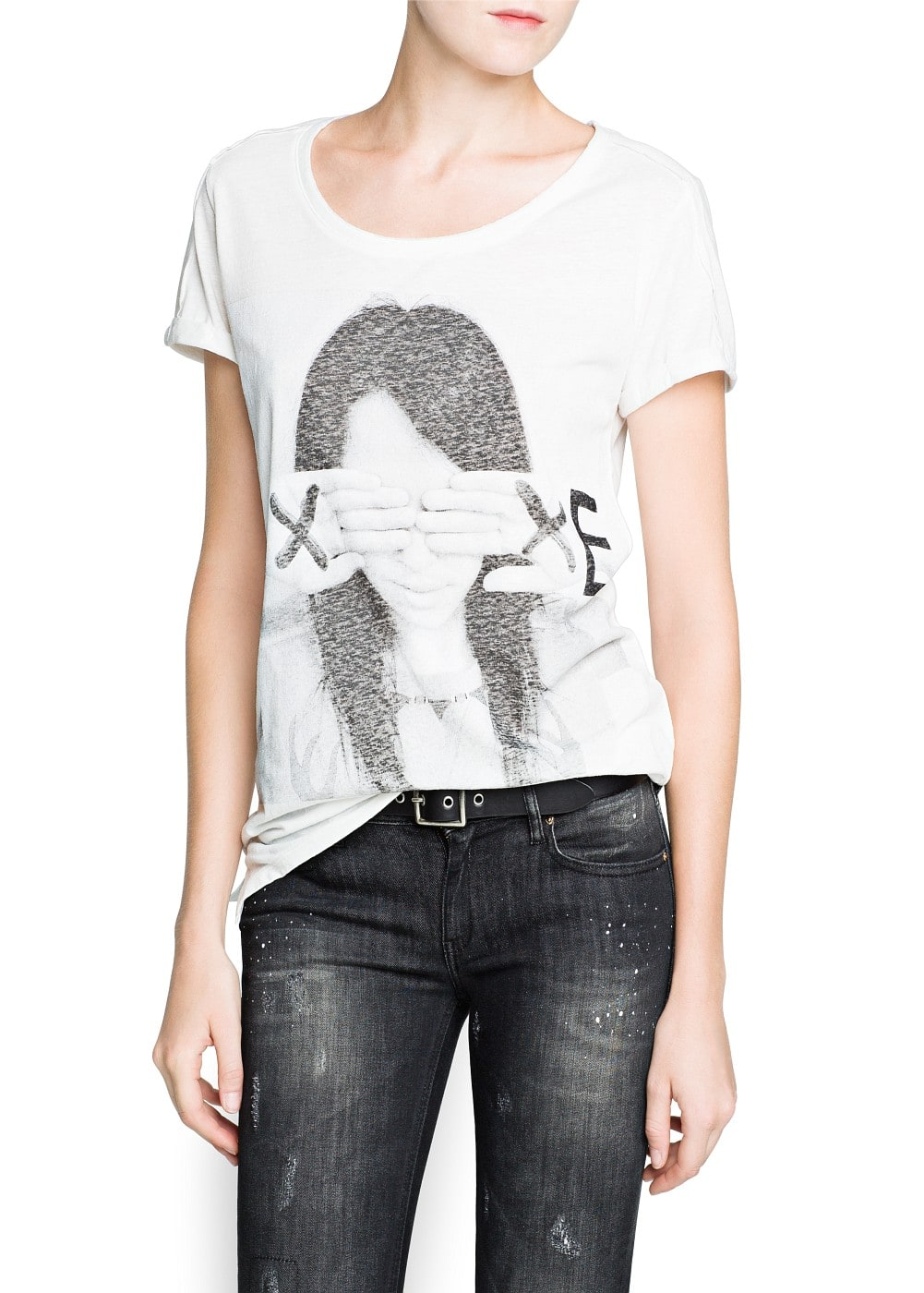 Image slub cotton-blend t-shirt | MANGO