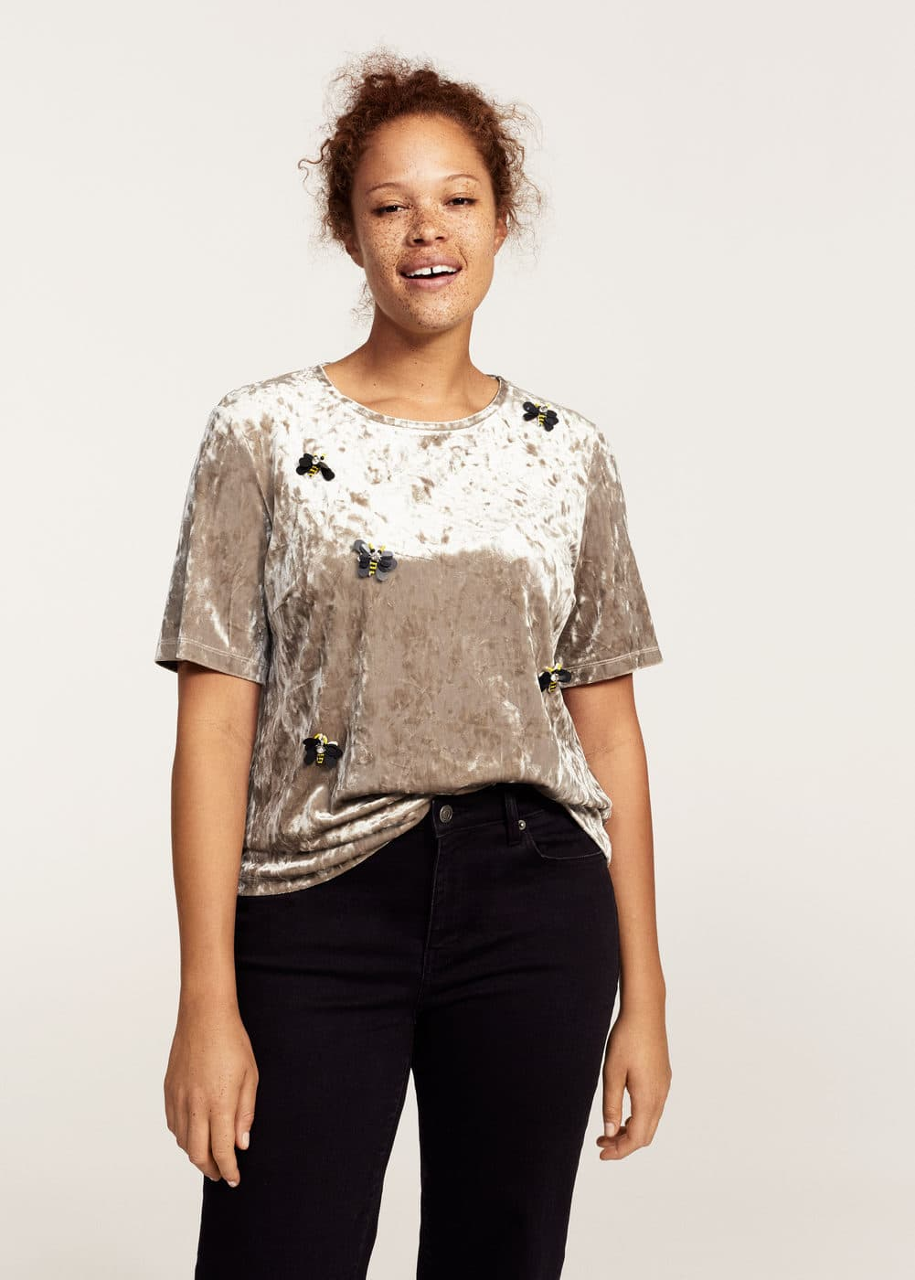Embroidered detail t-shirt | MANGO