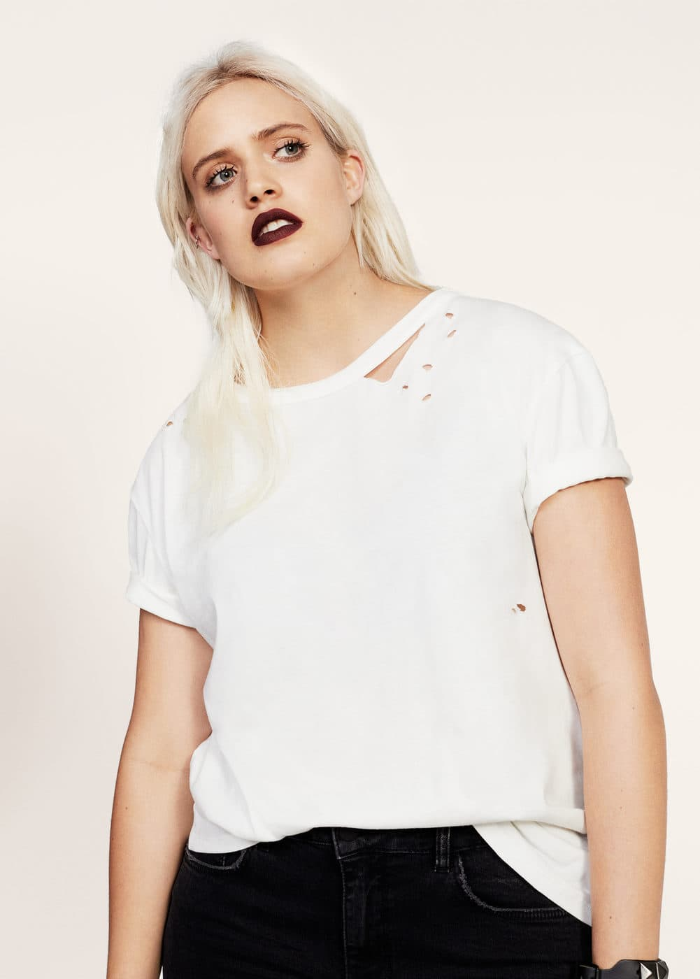 Ripped detail t-shirt | MANGO