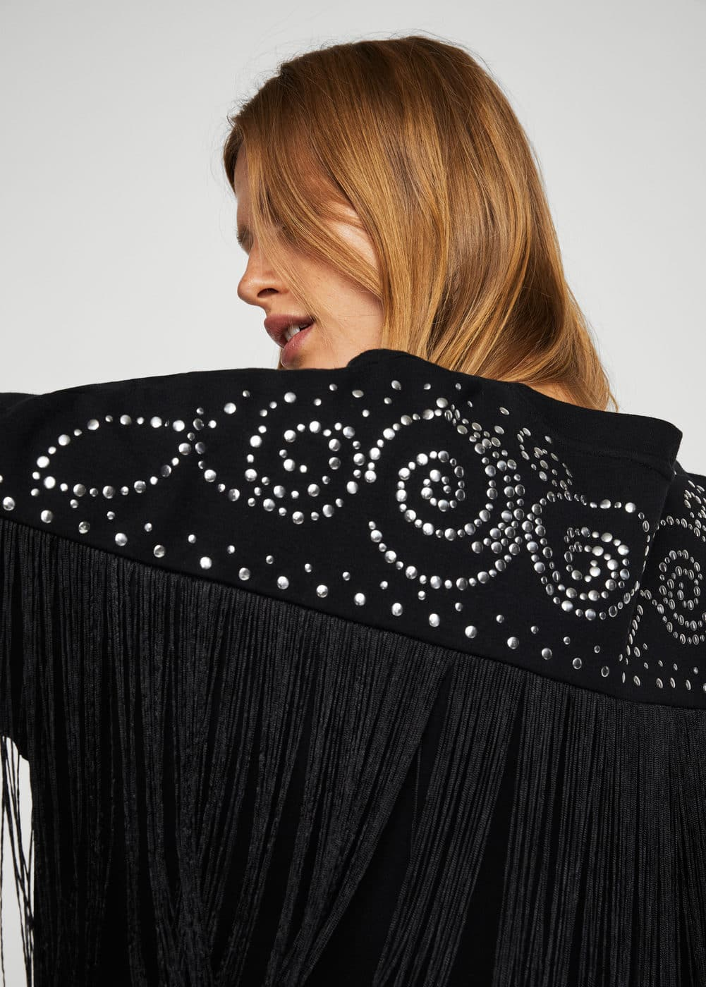 Studded fringed sweater | MANGO