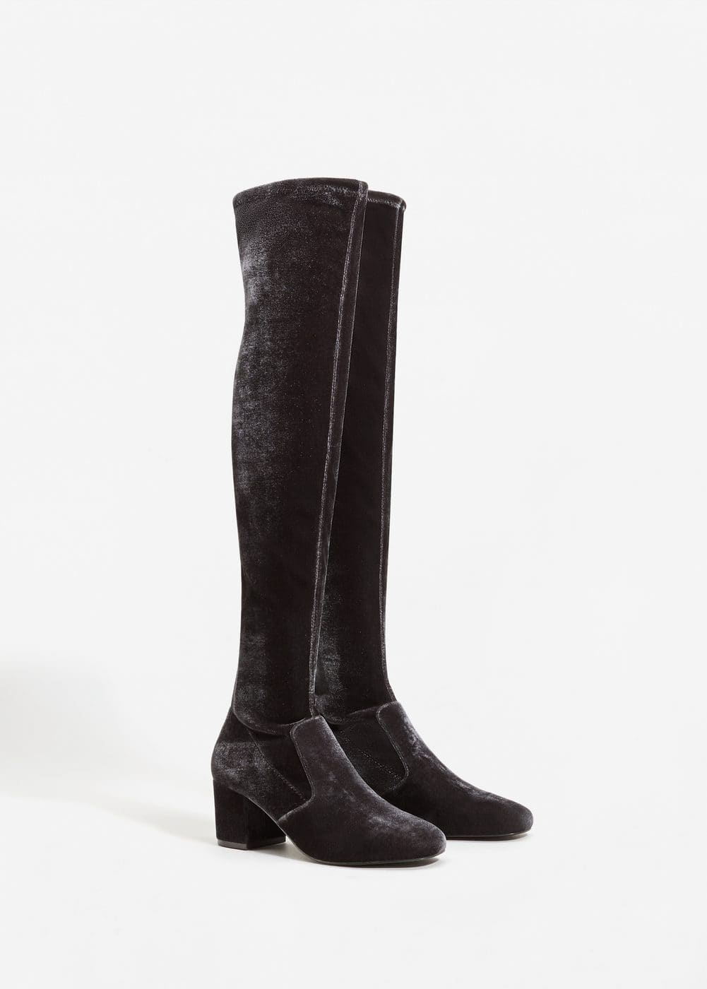 Velvet over-the-knee boots | MANGO