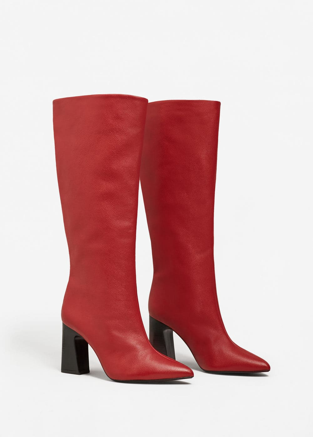 Leather high-leg boots | MANGO
