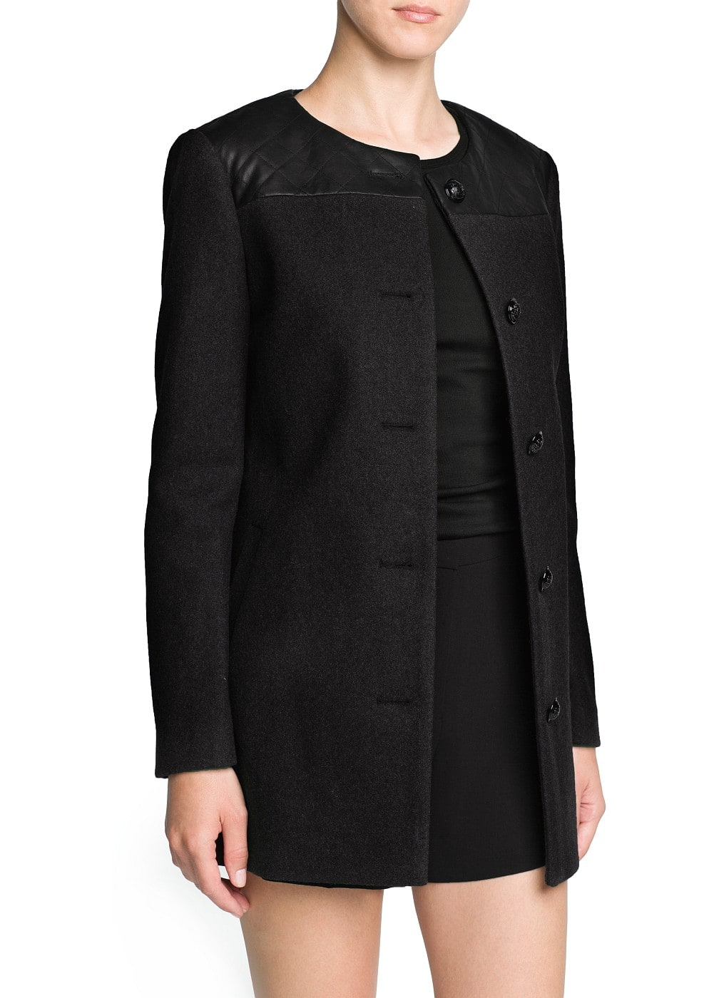 Quilted appliqué wool-blend coat | MANGO