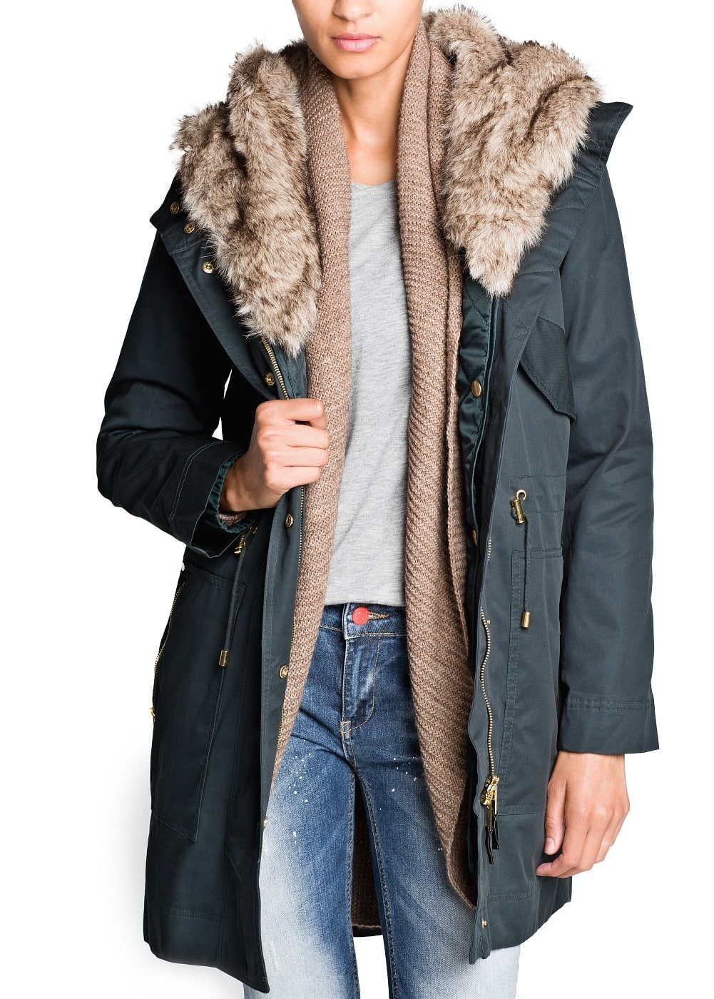 Faux fur hooded parka | MANGO