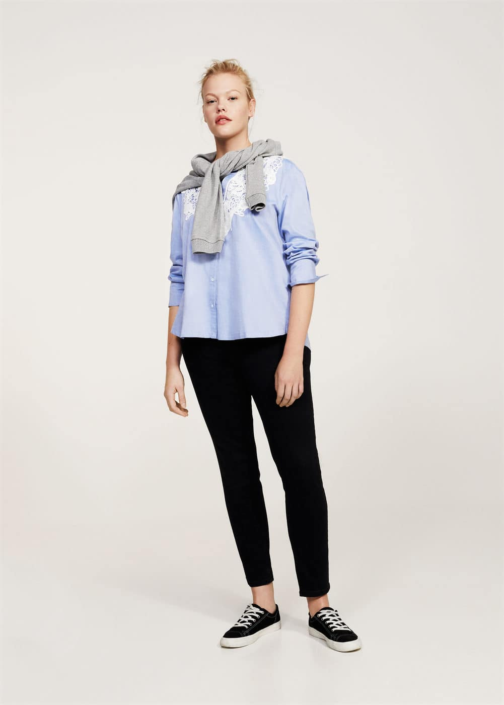 Lace cotton-blend shirt | MANGO