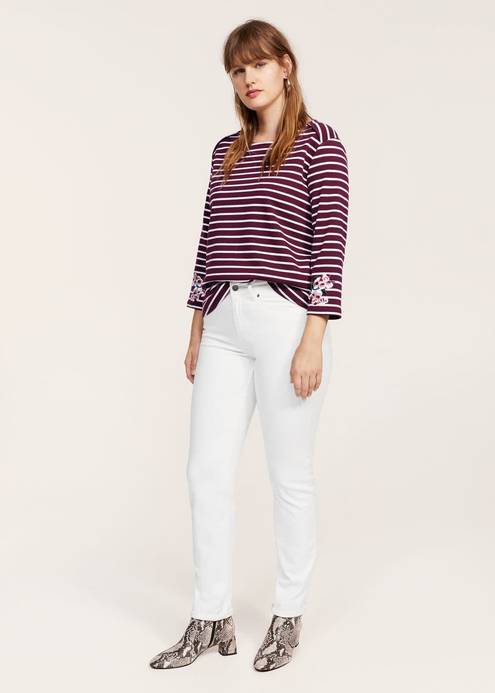 Embroidery striped t-shirt | VIOLETA BY MANGO