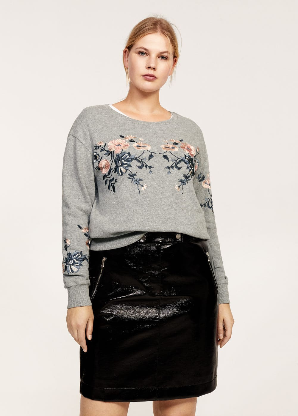 Floral embroidered sweatshirt | VIOLETA BY MANGO