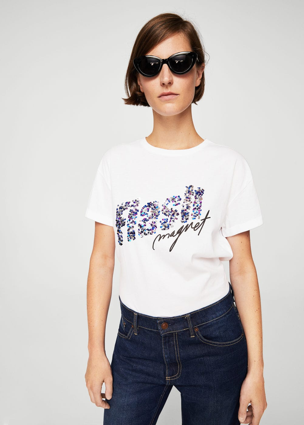 Sequined message t-shirt | MANGO