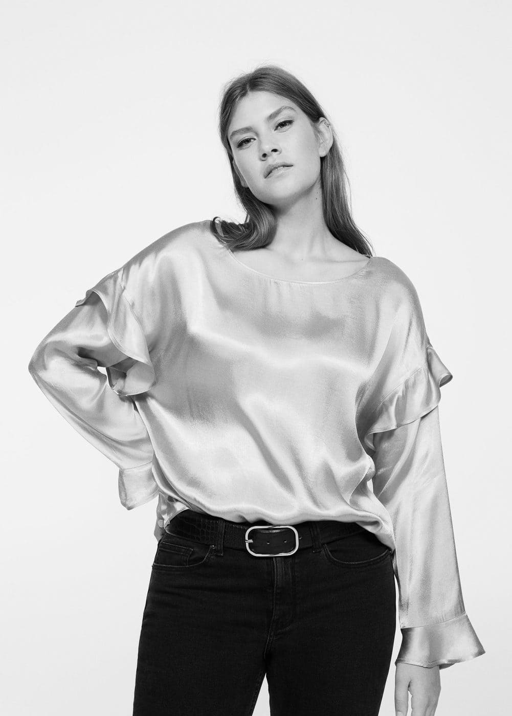 Ruffled satin blouse | VIOLETA BY MANGO