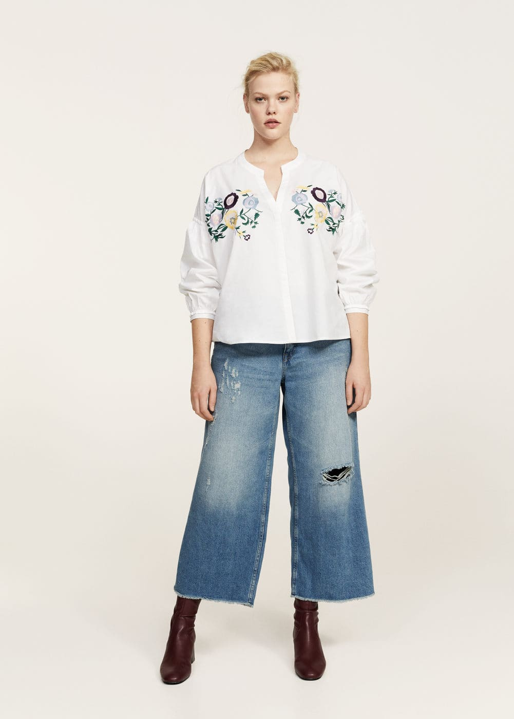 Floral embroidery blouse | VIOLETA BY MANGO