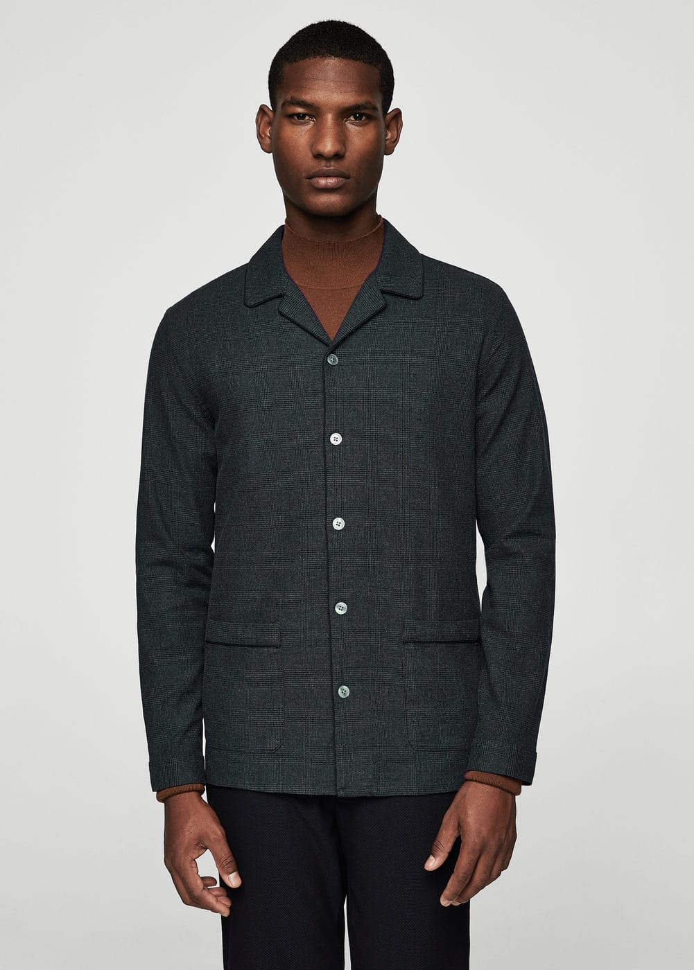 Prince of wales regular-fit cotton shirt | MANGO MAN
