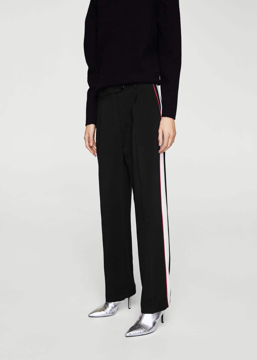 Side striped trousers | MANGO