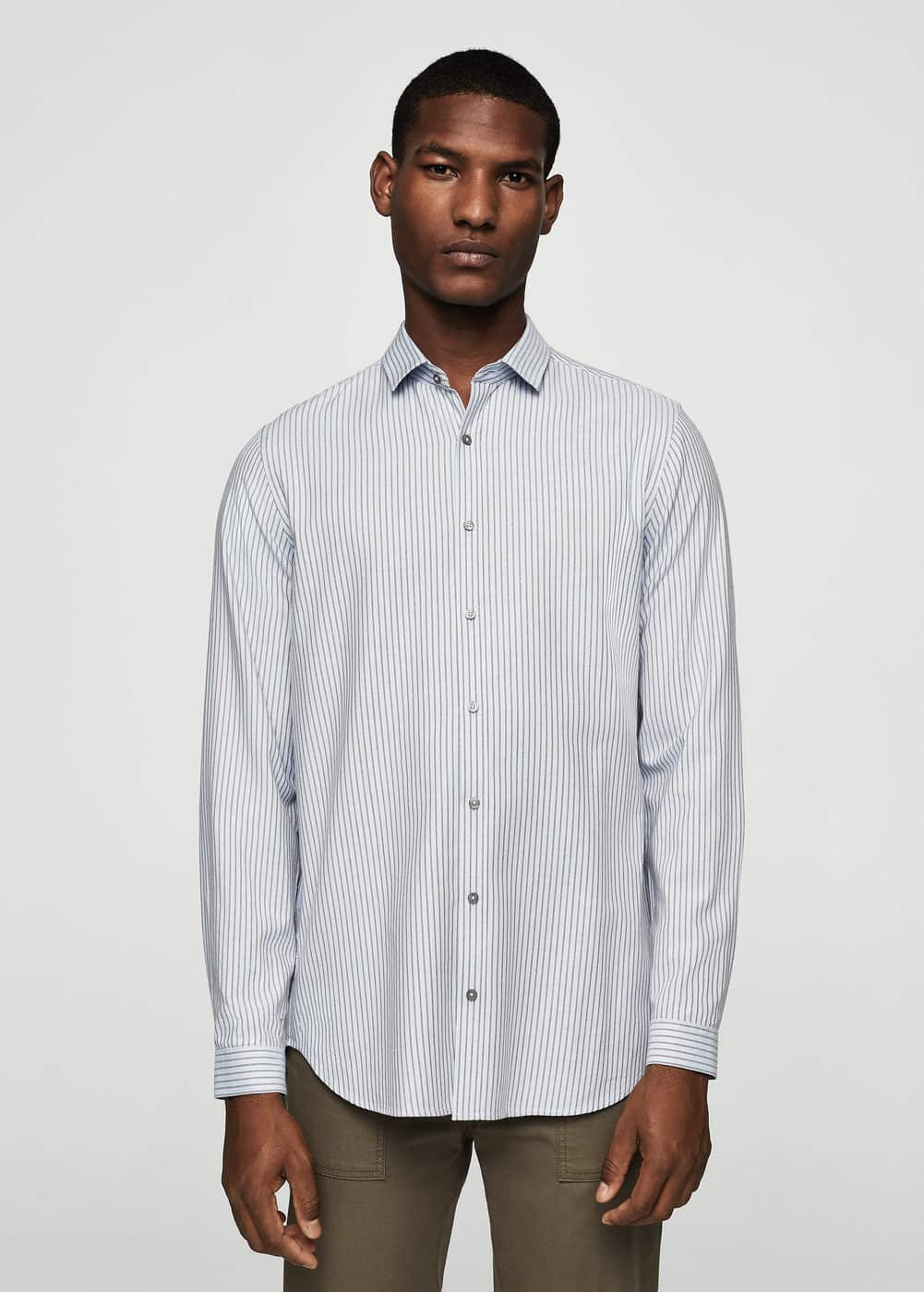 Regular-fit striped cotton shirt | MANGO MAN