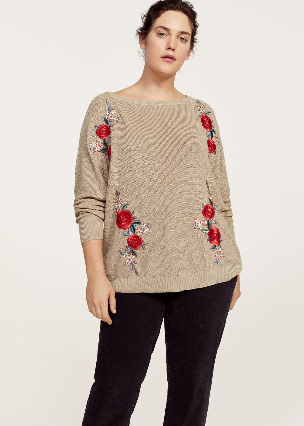 Floral embroidery metallic sweater | VIOLETA BY MANGO