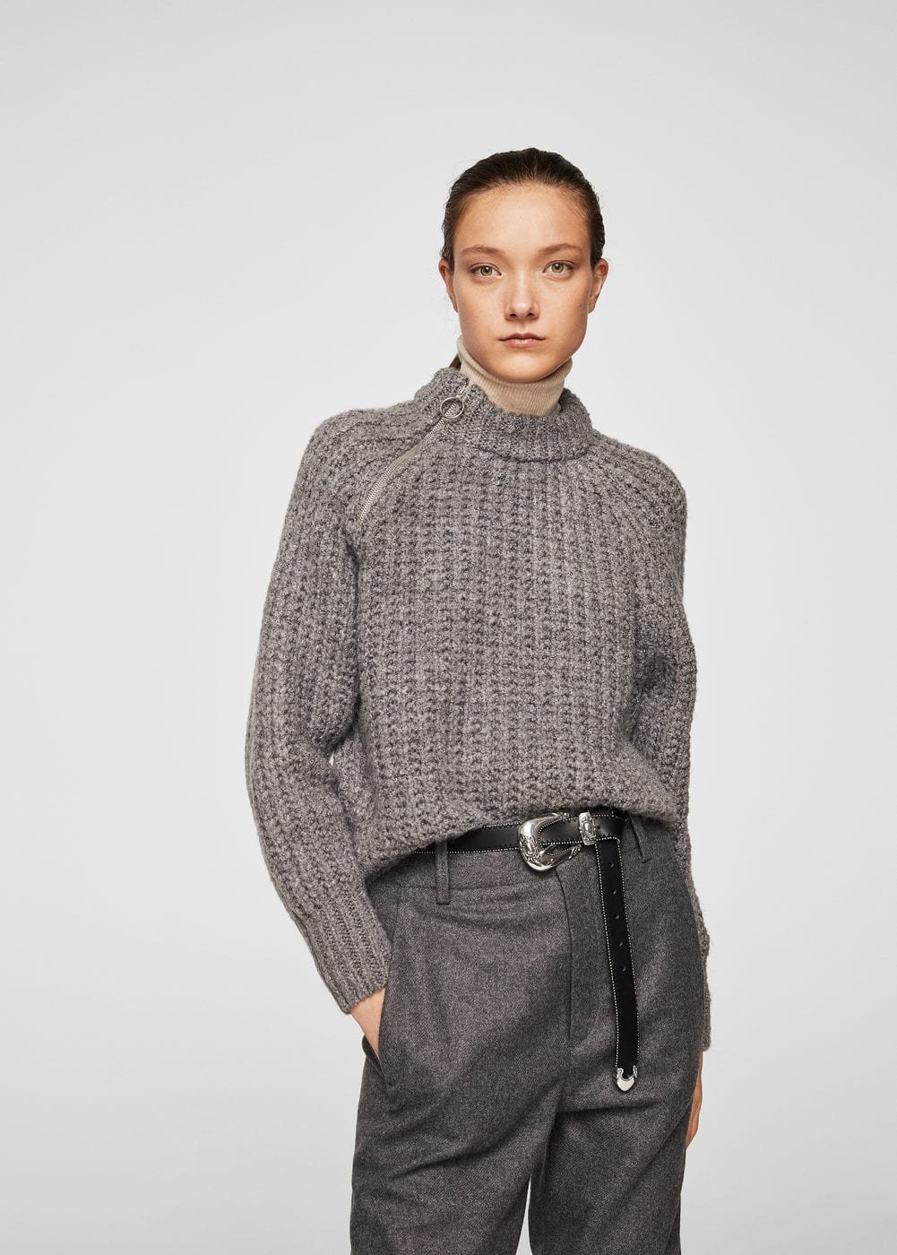 Zip knit sweater | MANGO