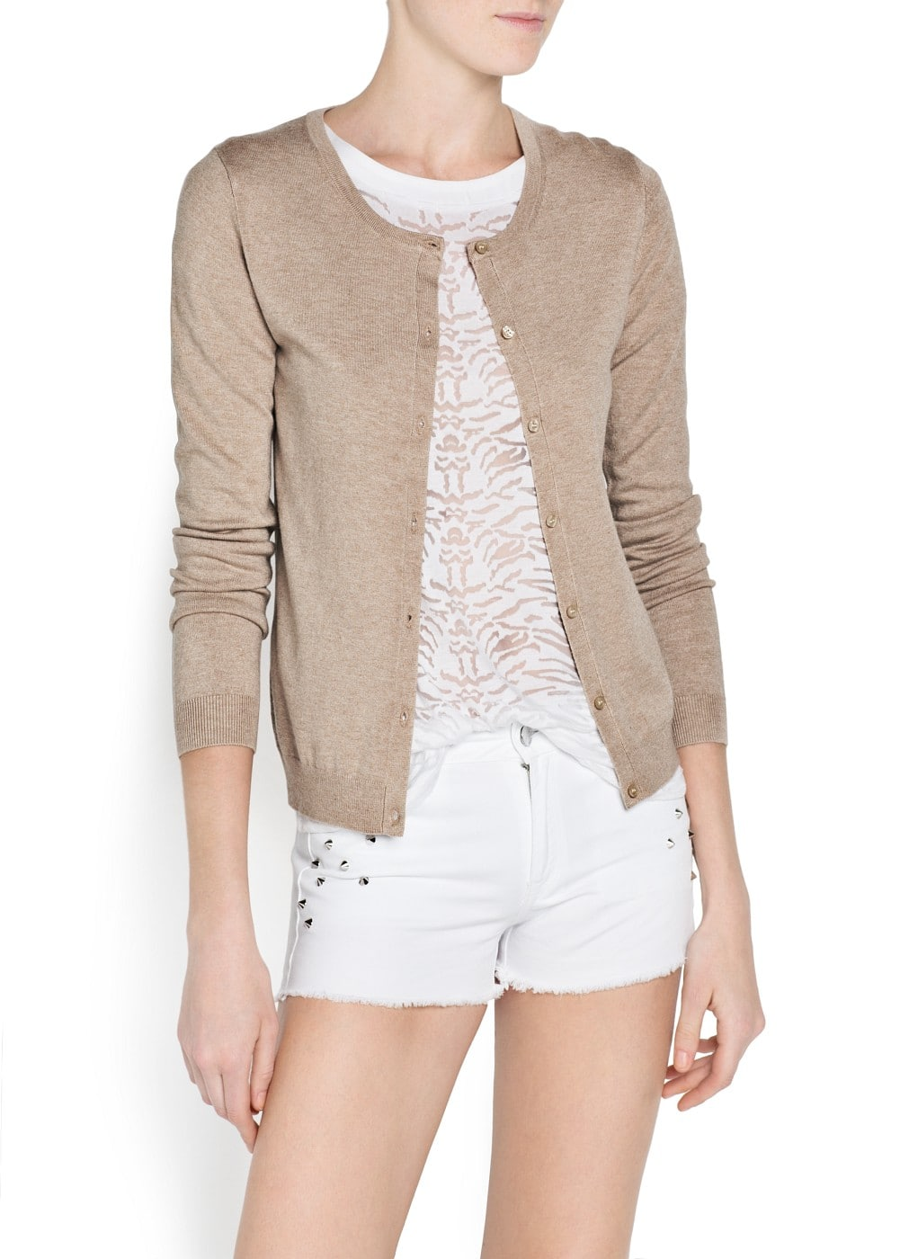 Round neck essential cardigan | MANGO