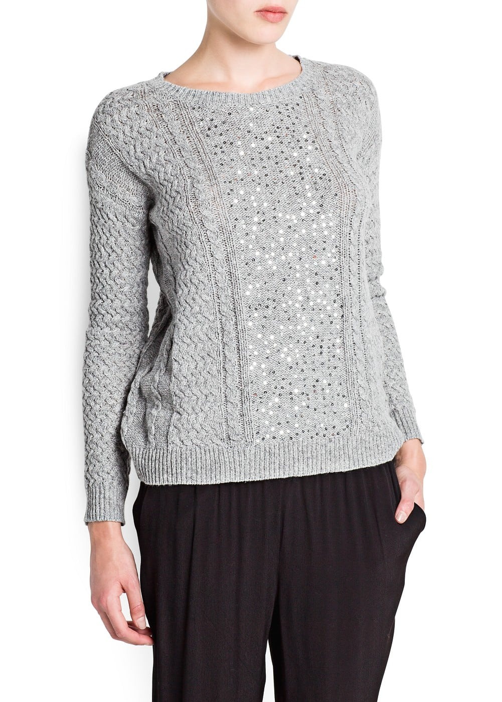 Sequined cable-knit sweater | MANGO