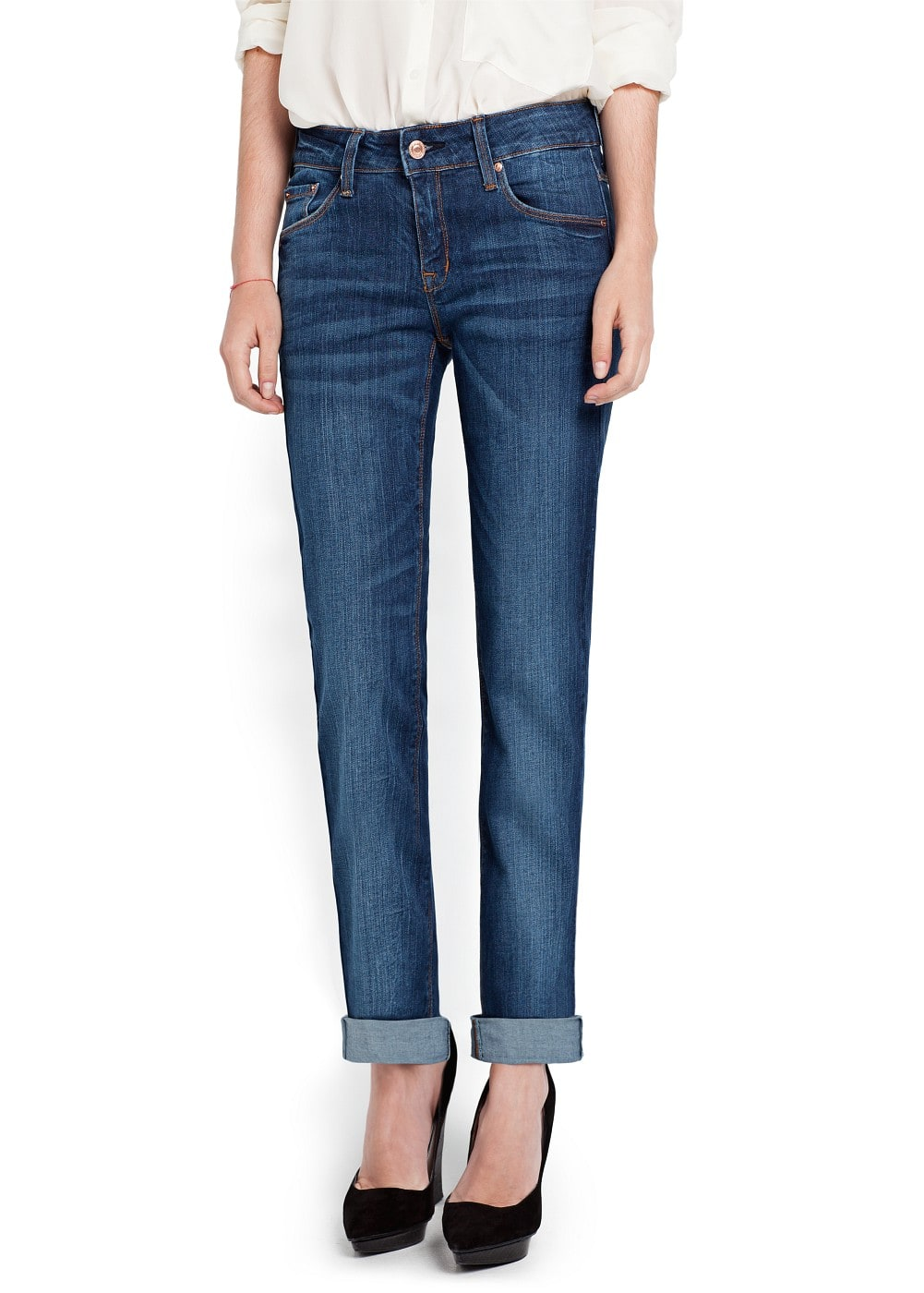 Straight-fit dark wash jeans | MANGO