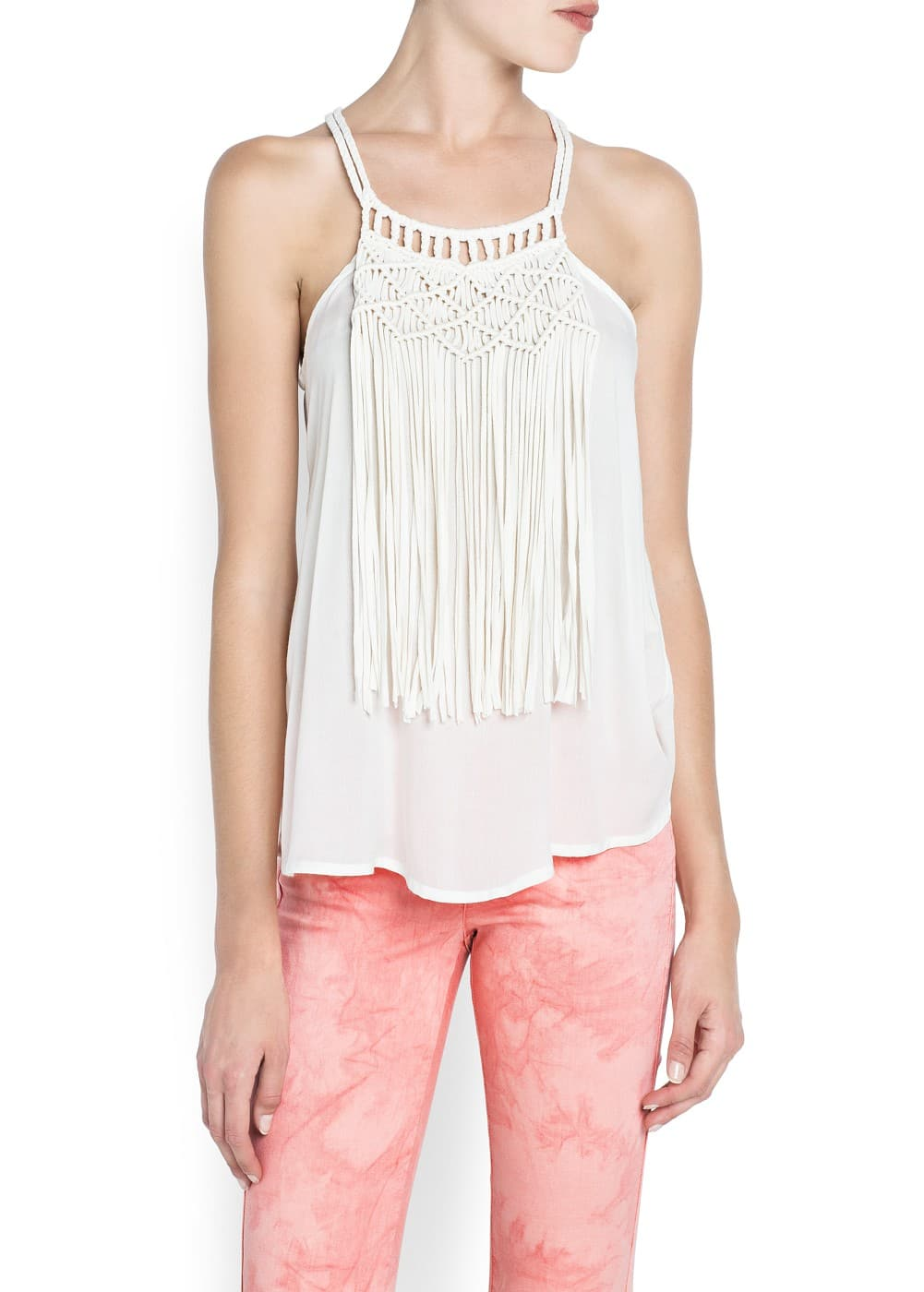Fringed appliqué top | MANGO