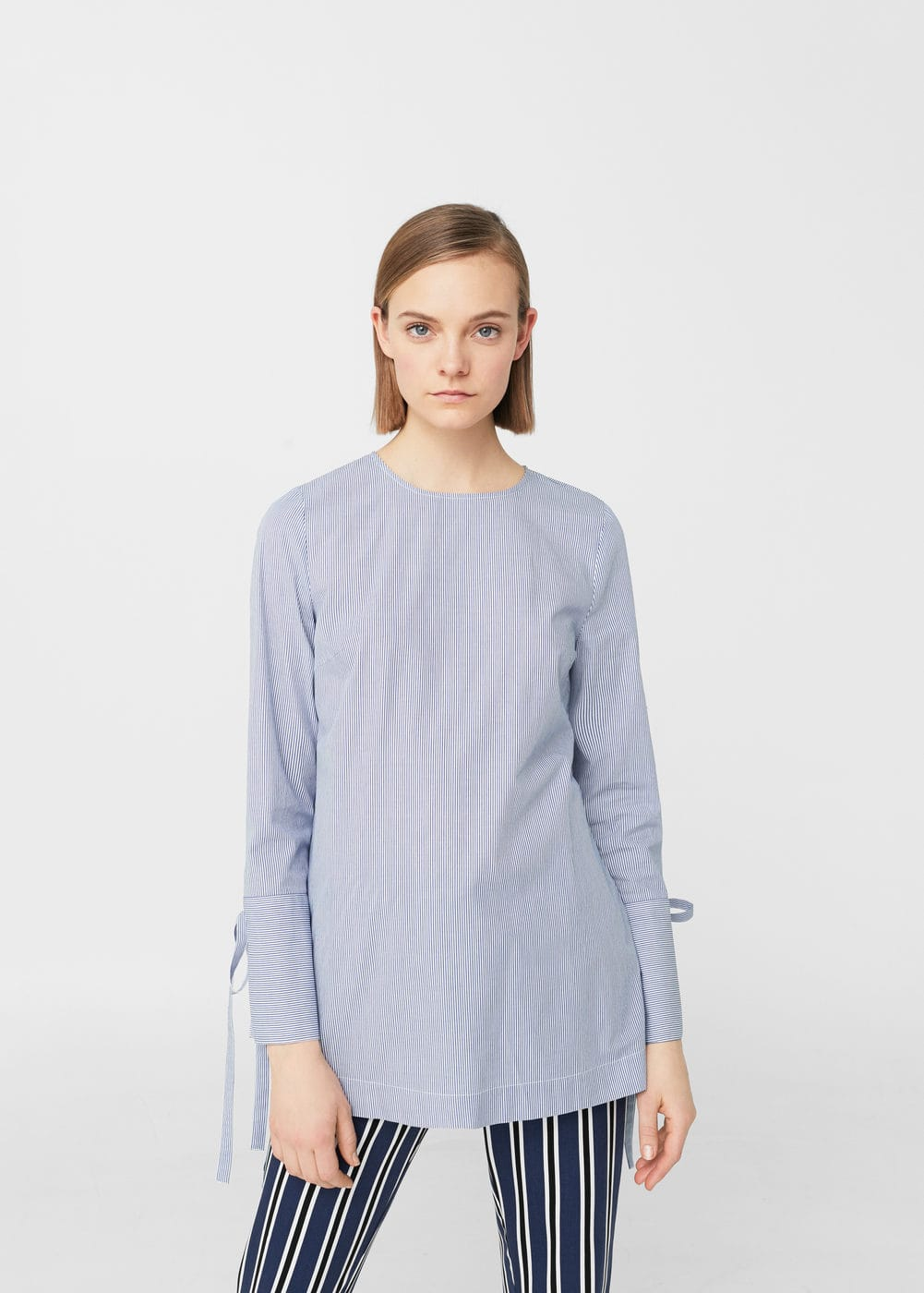 Fine-stripe cotton blouse | MNG